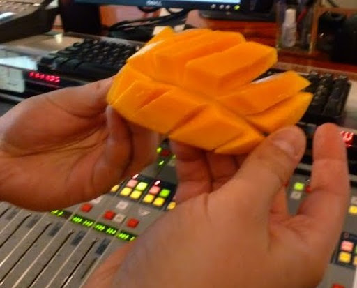 Steve shows off his sectioned mango slices.