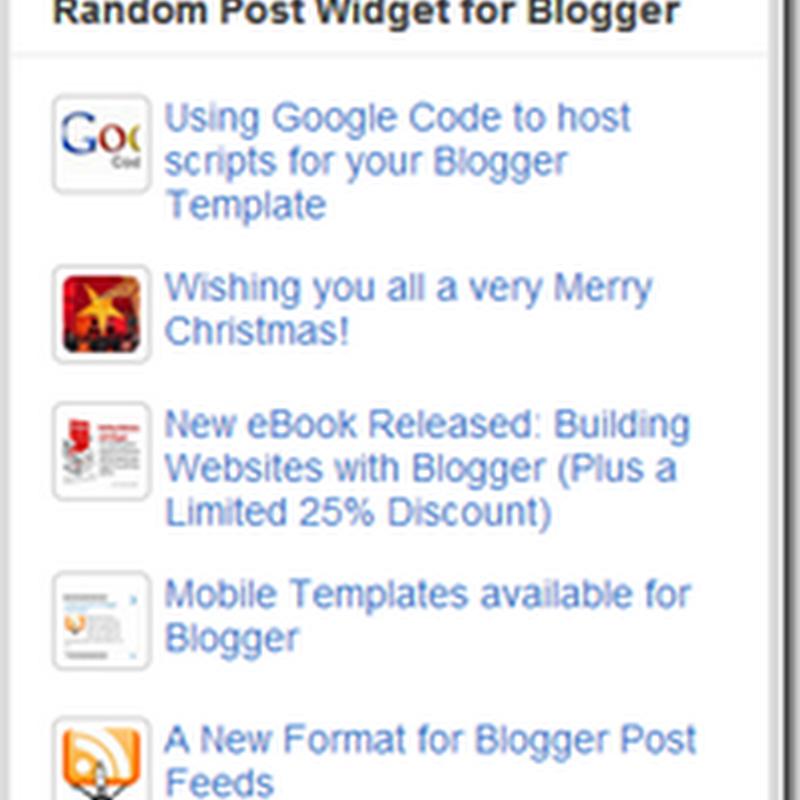 How to Add Random Post Widget to blogger Blogs
