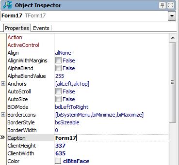 Стандартный Object Inspector в Delphi XE2
