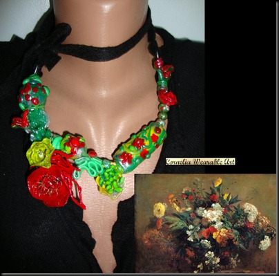 Eugene Delacroix Flowers Inspired Necklace