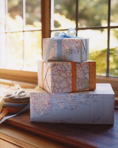 If you've run out of wrapping paper, use maps! (Martha Stewart Living, August 2002)