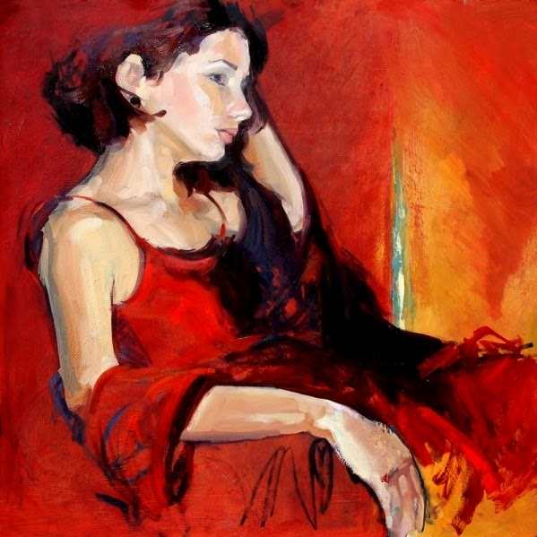 ?Red Mirage? - Oil and Acrylic Painting of a Woman