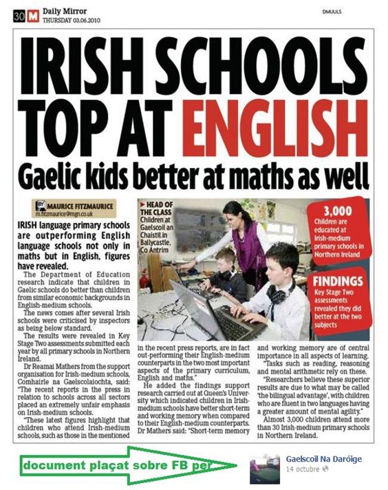 resulta de l'ensenhament bilingüe en Irlanda