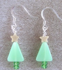 Cape triangle green christmas tree earrings