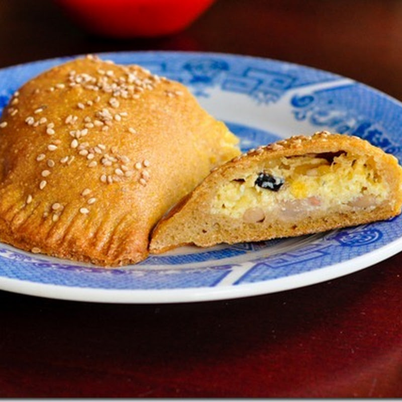 Navy bean and hominy calzones with real cheese