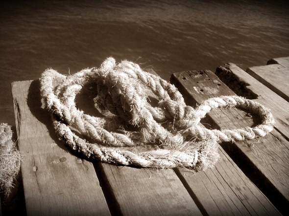 Jangada, corda, praia, mar, paraíso, sépia