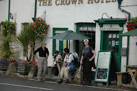 Arriving at the Crown Hotel.