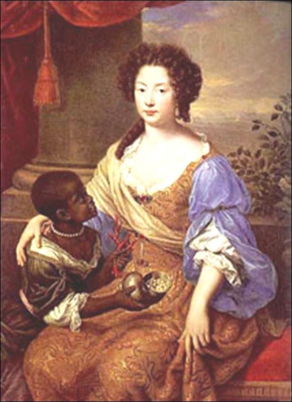 Femme de cour et enfant noir