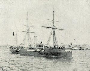 El crucero INFANTA ISABEL con el casco pintado de negro. Foto de lugar y fecha sin identificar. Del libro LA ESPAÑA MARITIMA