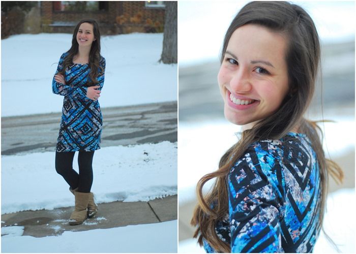 Longsleeve dress, leggings, snow boots