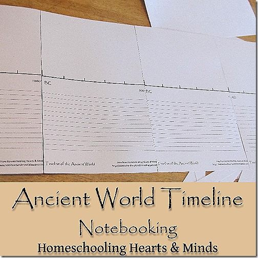 Free printable ancient world timeline for notebooking @Homeschooling Hearts & Minds