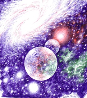 Lumini si umbre pe o sfera -Galaxie stele si planete - desen in pix - Galaxy stars and planets ballpoint pen drawing