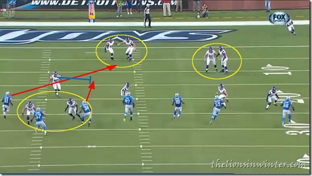 Film breakdown of Percy Harvin's kickoff return touchdown against the Detroit Lions, in 2012 NFL Week 4. Slide 2.