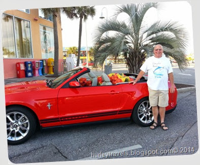 Mustang full of oranges, Gulf Shores, Alabama