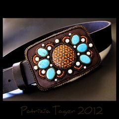 Belt Buckle Turq brown orange 02