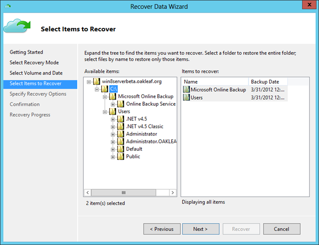 Recover Data Wiz - Items to Recover