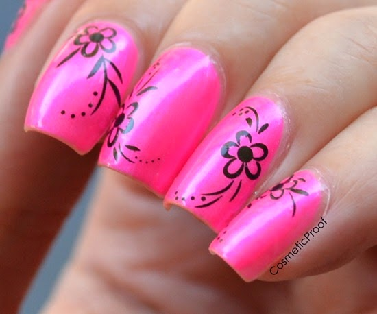Doll Face Brand nail polish Pisces Pink with nail decals