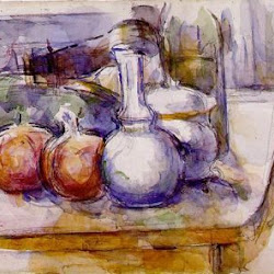 Paul Cezanne (1900-1906): Still Life with Carafe, Sugar Bowl, Bottle,Pomegranates, and Watermelon. Museo del Louvre. París. Postimpresionismo
