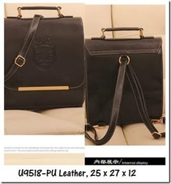 U9518 (185.000) - PU Leather, 25 x 27 x 12, Black