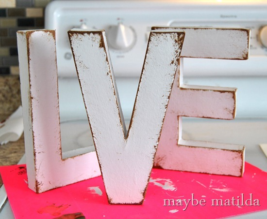 How to faux distress letters with paint
