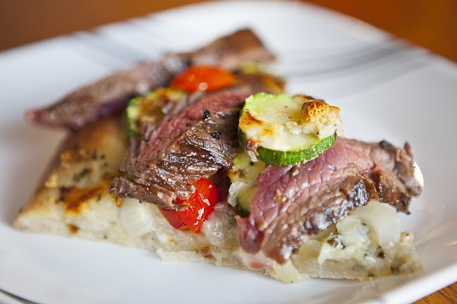 Grilled Flank Steak with Grilled Vegetables on Focaccia