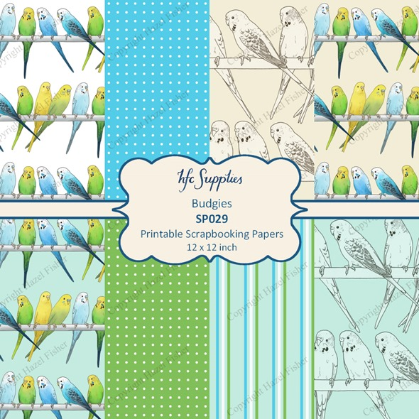 SP029 Budgies printable scrapbooking paper 1