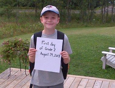 Caden's first day of school Grade 2