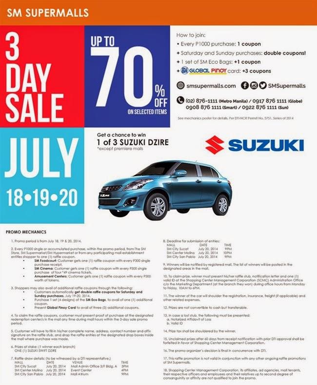 SM 3 Day Sale July