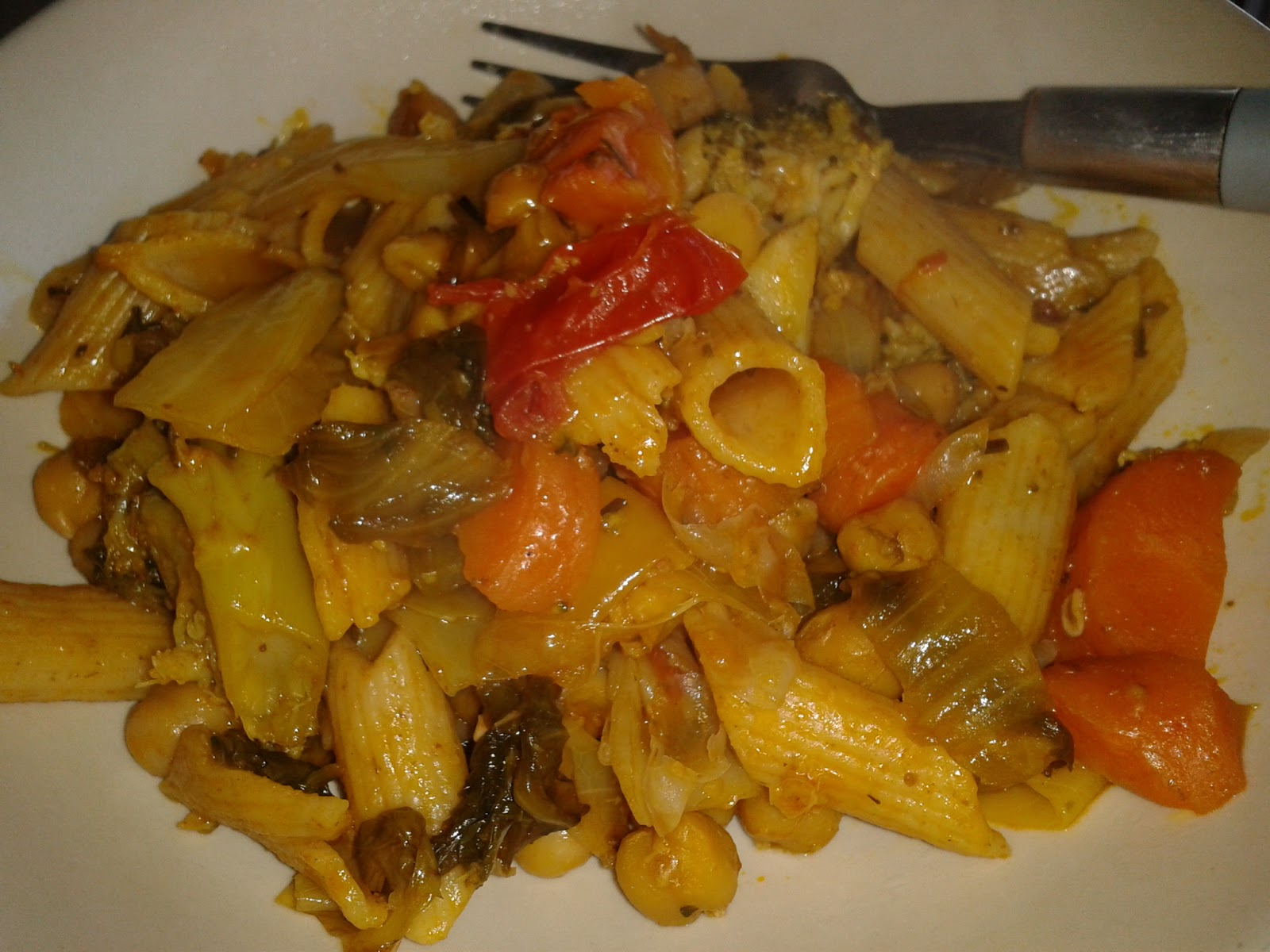 The Vegan Nigerian: SLOW-COOKED SPICY PASTA WITH CABBAGE AND CHICKPEAS