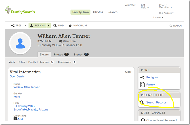 FamilySearch Family Tree link to search records