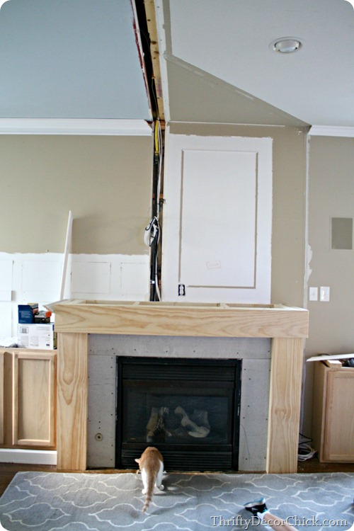 fireplace that sticks out from wall
