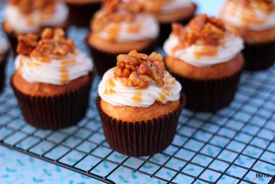 Banana Walnut Cupcakes with Banana Icing and Candided Walnuts by Baking Makes Things Better