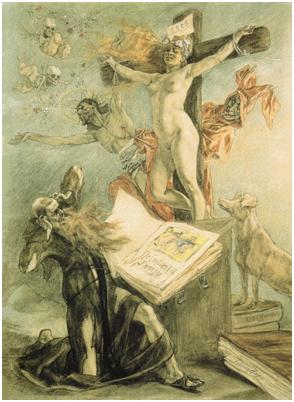 La tentación de san Antonio, de Felicien Rops, 1878.