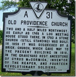 Old Providence Church, Marker A-31 - Augusta Co. VA
