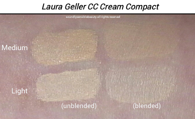 Laura Geller CC Creme, Cream Compact; Review & Swatches of Shades Light & Medium