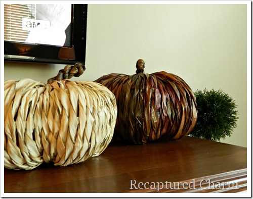 family room husk pumpkins
