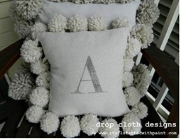 Monogrammed Drop Cloth Pom Pom Pillow