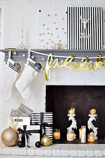 Black, White U0026 Gold Modern U0026 Chic Holiday Decor. For More DIY Decor Ideas