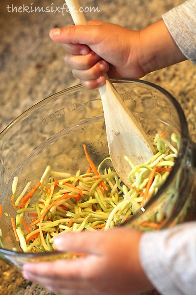 Mixing coleslaw