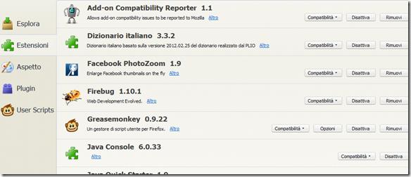 Firefox lista delle Estensioni installate