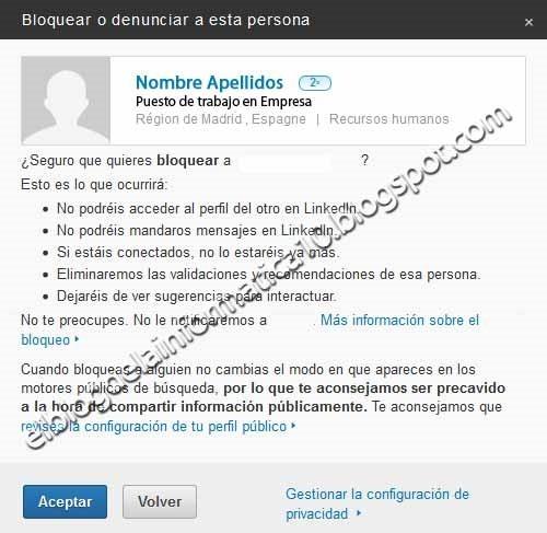 confirmación bloqueo usuario linkedin