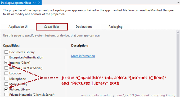 In the Capabilities tab, select Internet (Client) and Pictures Library both