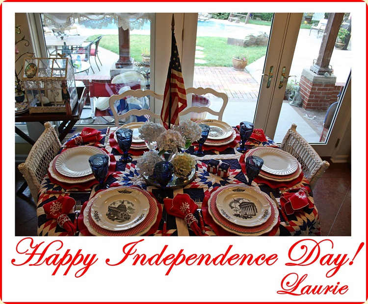 UD Capitol plates on 4th of July tablescape