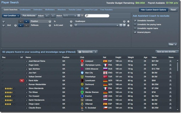 Player search in Football Manager 2012