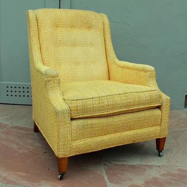 thriftscorethursday futuristichuman yellow midcentury chair