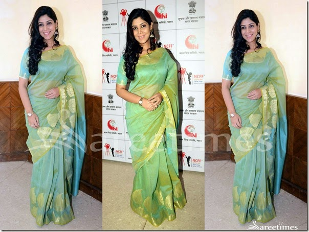 Sakshi_Tanvar_Green_Traitional_Saree