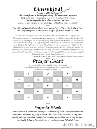 Christkindl Info Handout with Prayer Chart