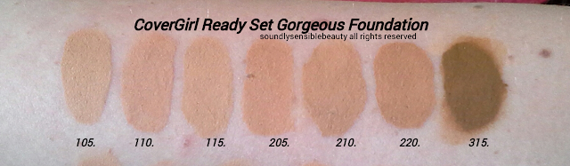 CoverGirl New Ready Set Primer, Foundation, Powder in One Step. Review & Swatches of Shades