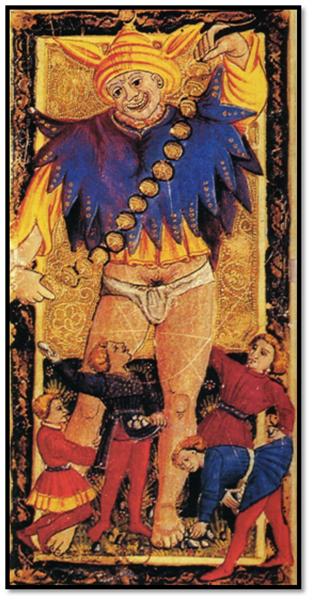 El Loco en el Tarot de Carlos VI. Ferrara, hacia 1470.