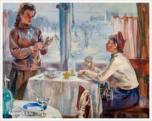 Борис Шатилов (Россия, 1905-1996) «Конькобежки. На катке «Динамо» 1950-е